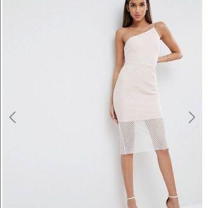 ASOS Geo Mesh Asymmetric Bodycon Dress